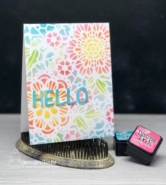 Hello by Jen Timko | Floral Stencil by Newton's Nook Designs, Essential Alphabet Dies by Newton's Nook Designs