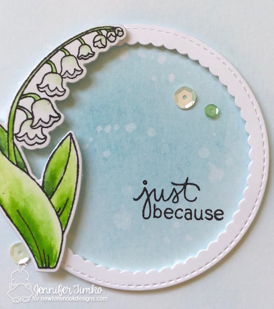 Just Because by Jen Timko | Little Lilies Stamp Set and Dies by Newton's Nook Designs, Stitched Circle Scallop Frames by MFT Stamps