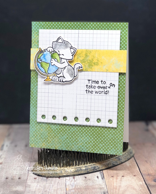 Take Over the World by Jen Timko | Newton's Graduation Stamp Set and Dies by Newton's Nook Designs, Watercolor