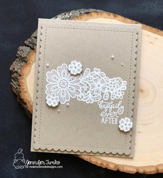 Happily Ever After by Jen Timko | Wedding Frills Stamp Set and Dies by Newton's Nook Designs, Frames and Flags Dies by Newton's Nook Designs