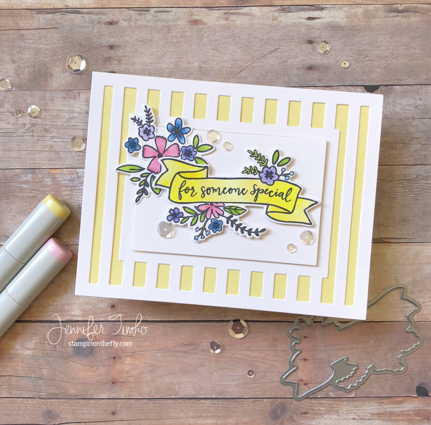 For Someone Special by Jen Timko | Banner in Bloom Stamp Set and Dies by Reverse Confetti, Striped Frame Cover Pane by Reverse Confetti, Copic Coloring