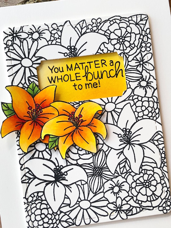 You Matter by Jen Timko | Blooming Botanicals Stamp Set by Newton's Nook Designs, Frames and Flags Die Set by Newton's Nook Designs, Copic Coloring
