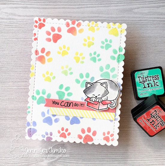 You Can Do It by Jen Timko | Newtons Loves Boxes Stamp Set and Dies by Newton's Nook Designs, Pawprints Stencil by Newton's Nook Designs