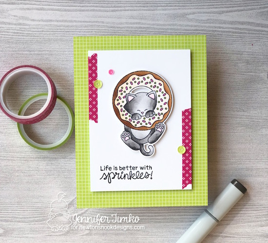 Sprinkles by Jen Timko | Newton's Donut Stamp Set and Dies by Newton's Nook Designs, Tutti-frutti DSP by Stampin' Up, Copic Coloring
