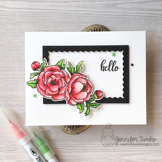 Hello by Jen Timko | Peony Blooms Stamp Set and Dies by Newton's Nook Designs, Framework Dies by Newton's Nook Designs, Zig Clean Color Markers