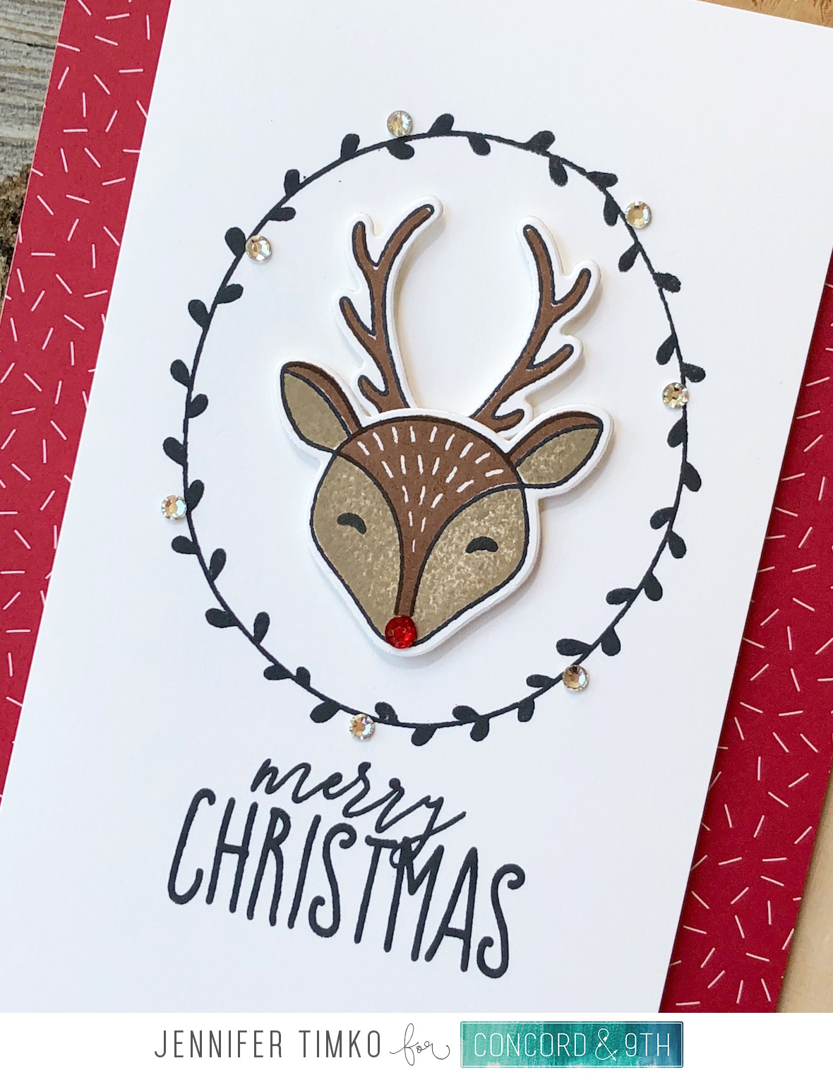 Merry Reindeer by Jen Timko | Furry Friends Stamp Set and Dies by Concord and 9th, O Christmas Tree Stamp Set by Concord and 9th
