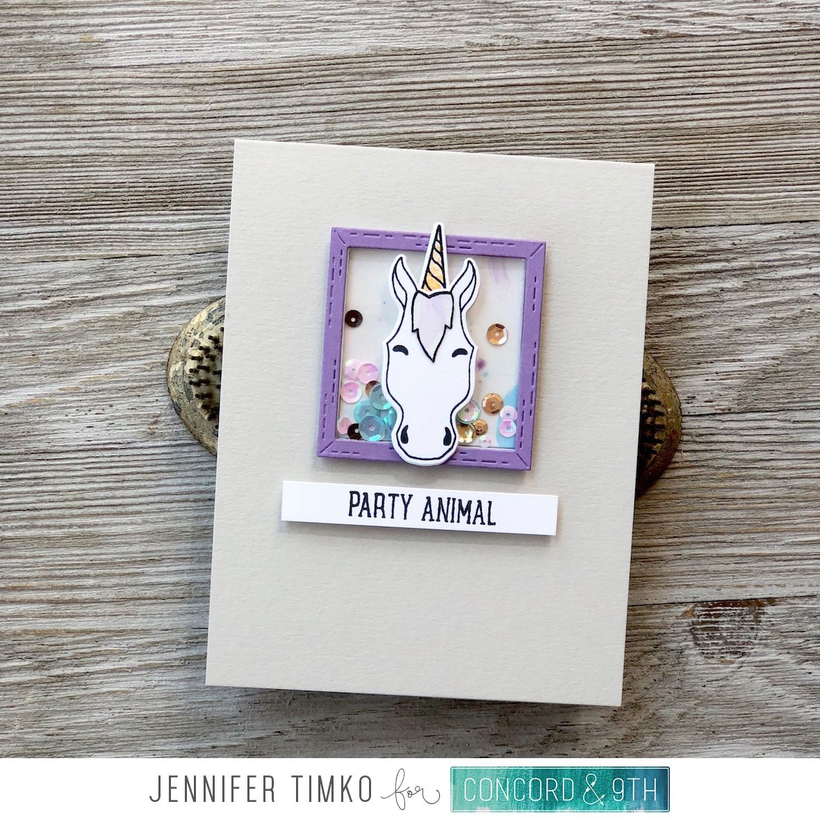 Party Animal by Jen Timko | Furry Friends Stamp Set and Dies by Concord and 9th, Shaker Card, Marbled Smooch Technique, Smooch Accent Ink