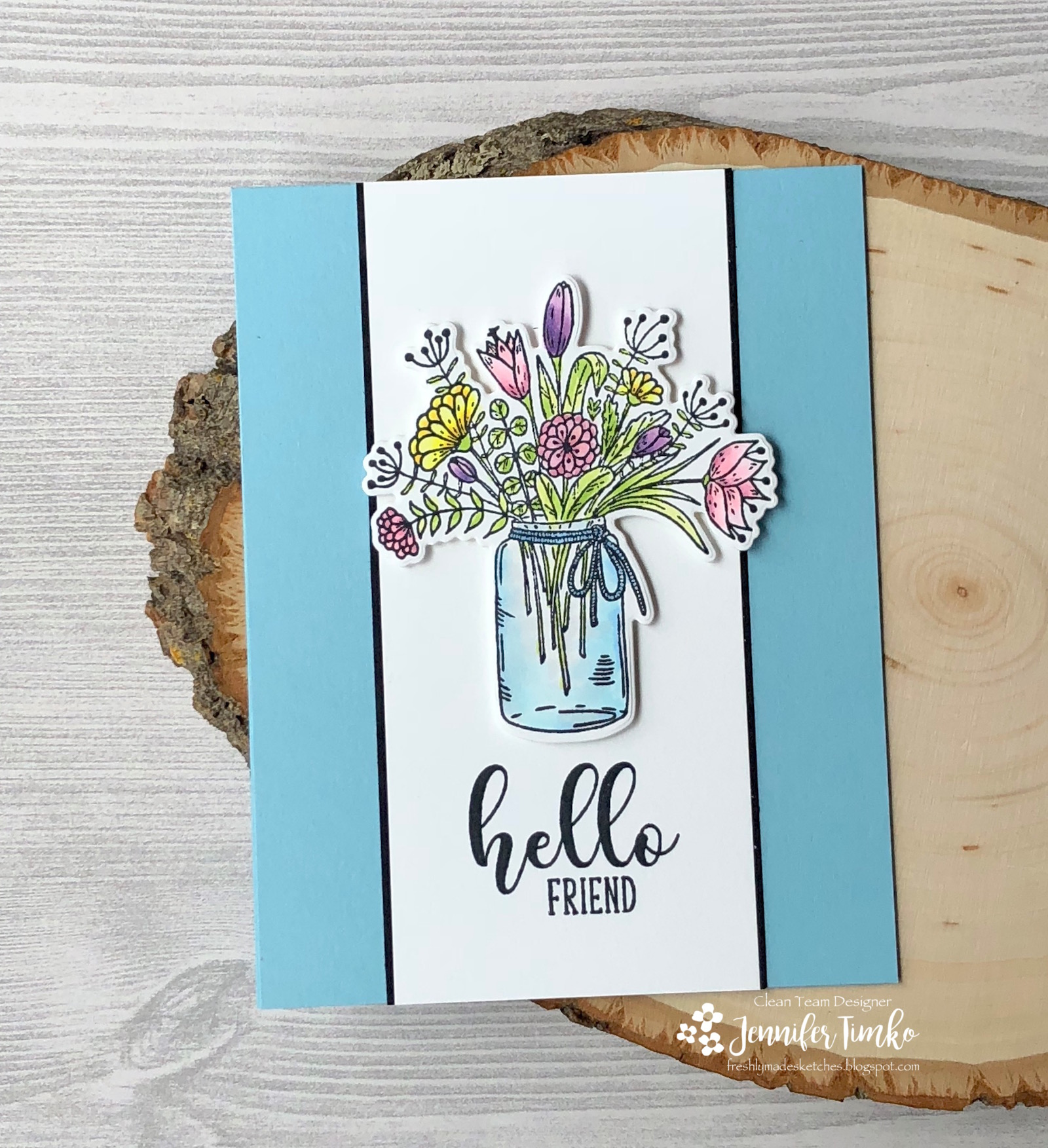 FMS340 by Jen Timko | Hearts and Flowers Stamp Set and Dies by Gina K Designs, Balmy Blue Card Stock by Stampin' Up, Copic Coloring
