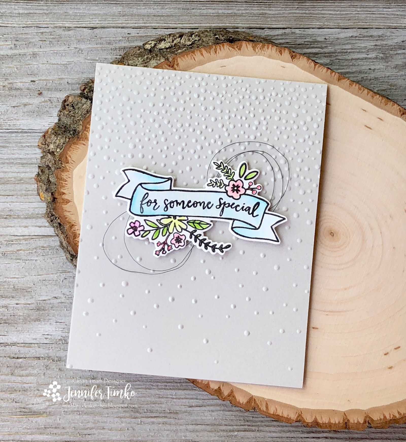 FMS341 by Jen Timko | Banner in Bloom Stamp Set and Dies by Reverse Confetti, Zig Clean Color Markers, Softly Falling Embossing Folder by Stampin' Up
