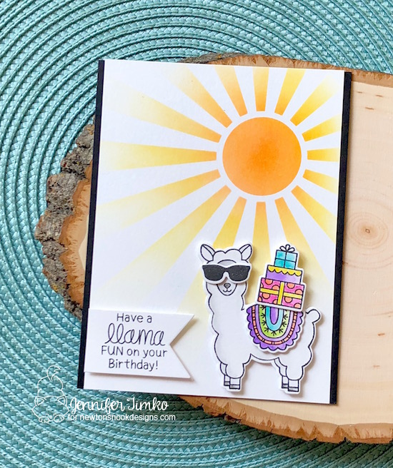 Have a LLama Fun by Jen Timko | Loveable Llamas Stamp Set and Dies by Newton's Nook Designs, Sunscape Stencil by Newton's Nook Designs