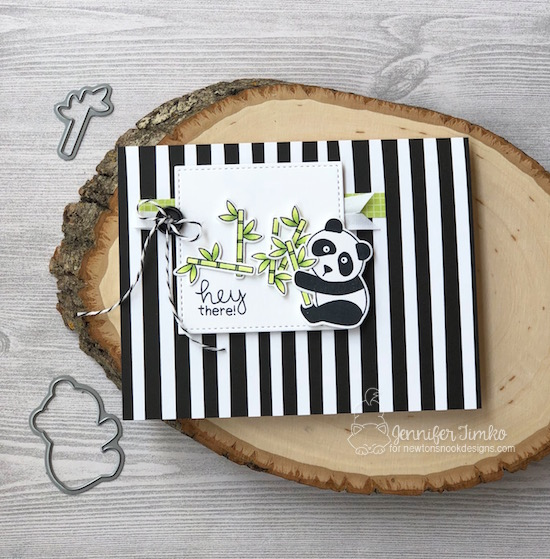 Hey There by Jen Timko | Playful Pandas Stamp Set and Dies by Newton's Nook Designs, Copic Coloring