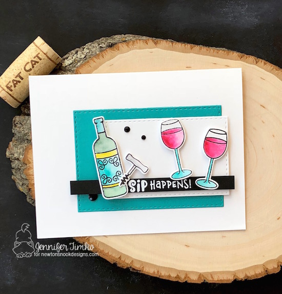 Sip Happens by Jen Timko | Wine a Little Stamp Set and Dies by Newton's Nook Designs, FMS 342