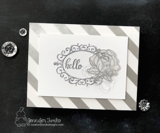 "Hello by Jen Timko | Peony Blooms Stamp Set and Dies by Newton's Nook Designs, Cameo Frame Die Set by Newton's Nook Designs, 3"" Disposable Sticker Maker by Xyron"