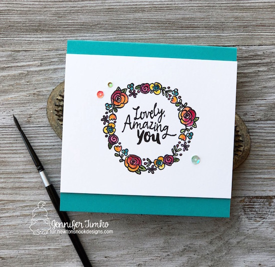 Lovely Amazing You by Jen Timko | Happy Little Thoughts Stamp Set by Newton's Nook Designs