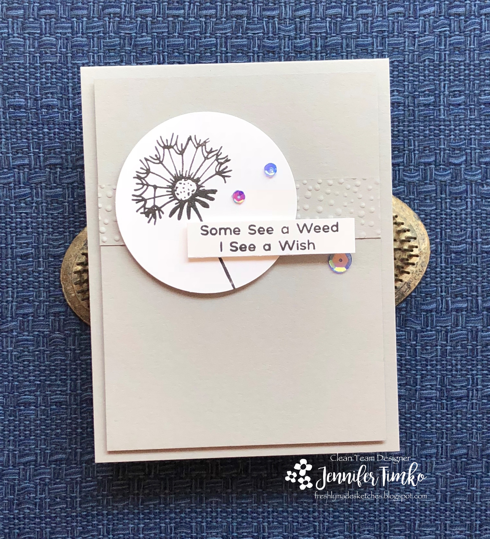 FMS350 by Jen Timko | Dandelion Wishes Stamp Set by Picket Fence Studios, Shark Bite Sequins by Picket Fence Studios