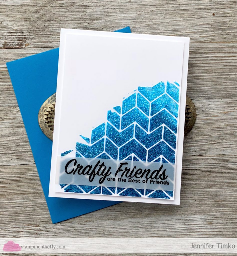 Crafty Friends by Jen Timko | Crafty Friends Stamp Set by Picket Fence Studios, Tonic Nuvo Glimmer Paste, Wow Embossing Glitter