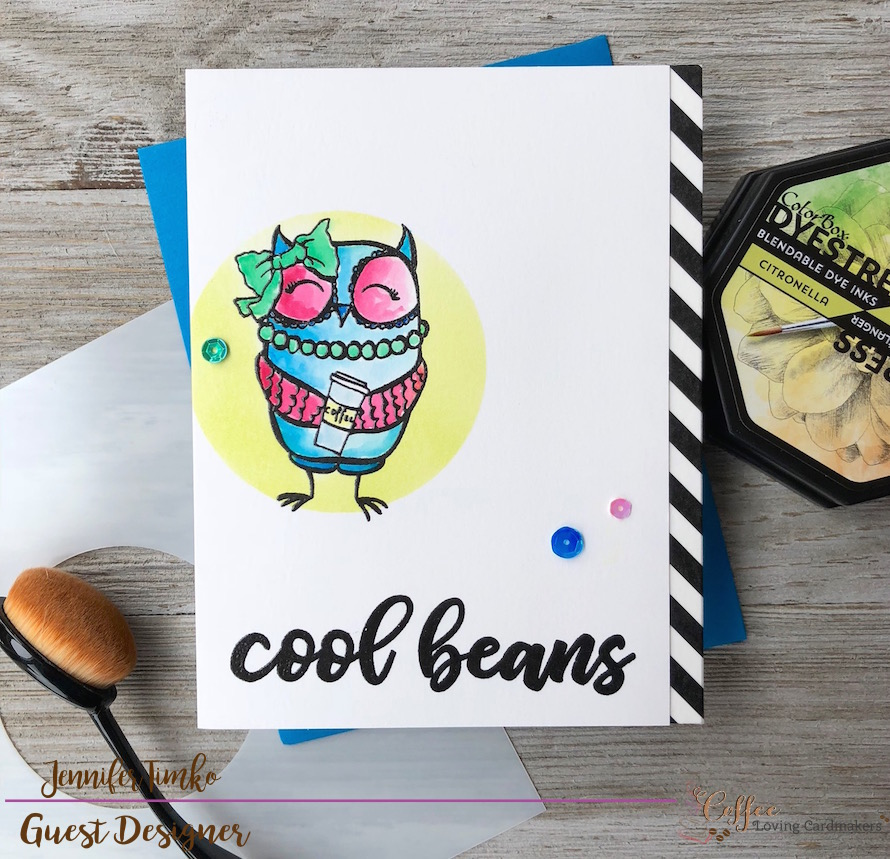 Cool Beans by Jen Timko | BFF Owl Stamp Set by Picket Fence Studios, Ways to Say Congrats Stamp Set by Picket Fence Studios, Life Changing Blender Brushes by Picket Fence Studios