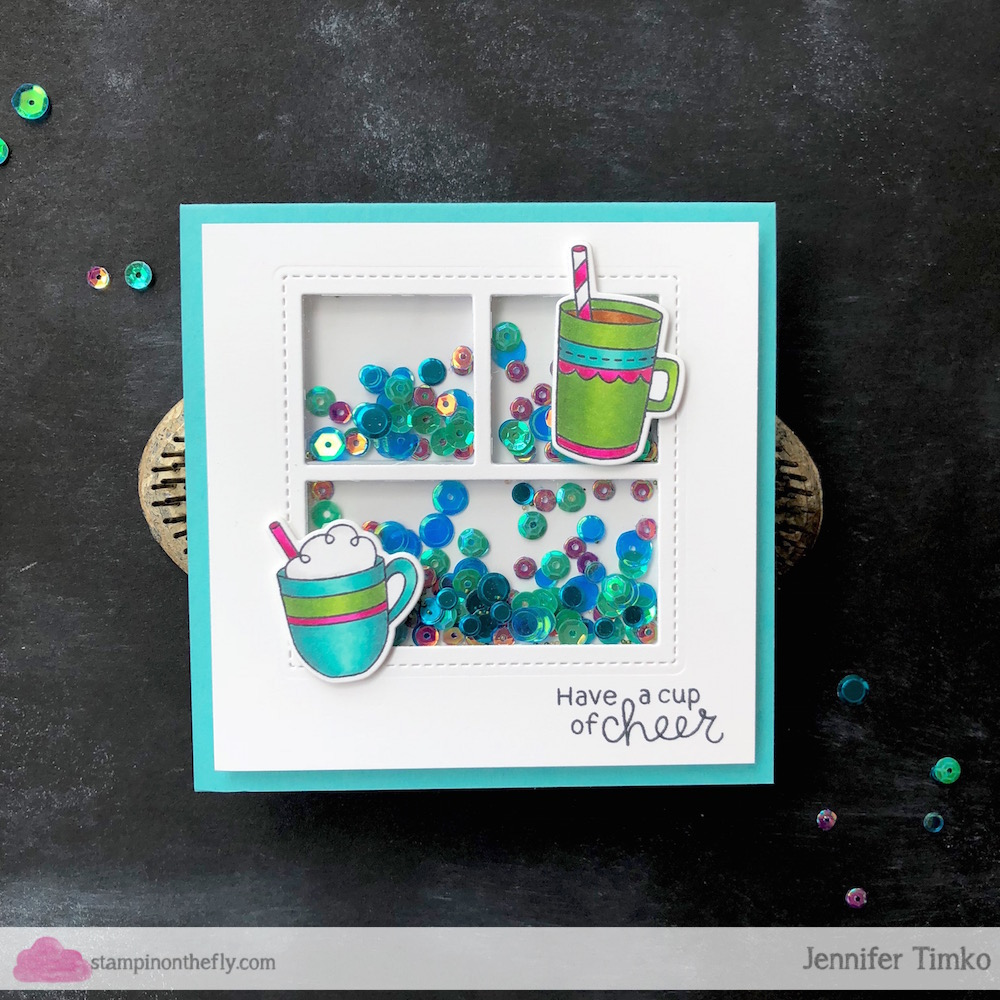 Coffee Lovers National Coffee Day Hop by Jen Timko | Cup of Cocoa Stamp Set and Dies by Newton's Nook Designs, Mini Storybook 1 Dies by Pretty Pink Posh, Copic Coloring