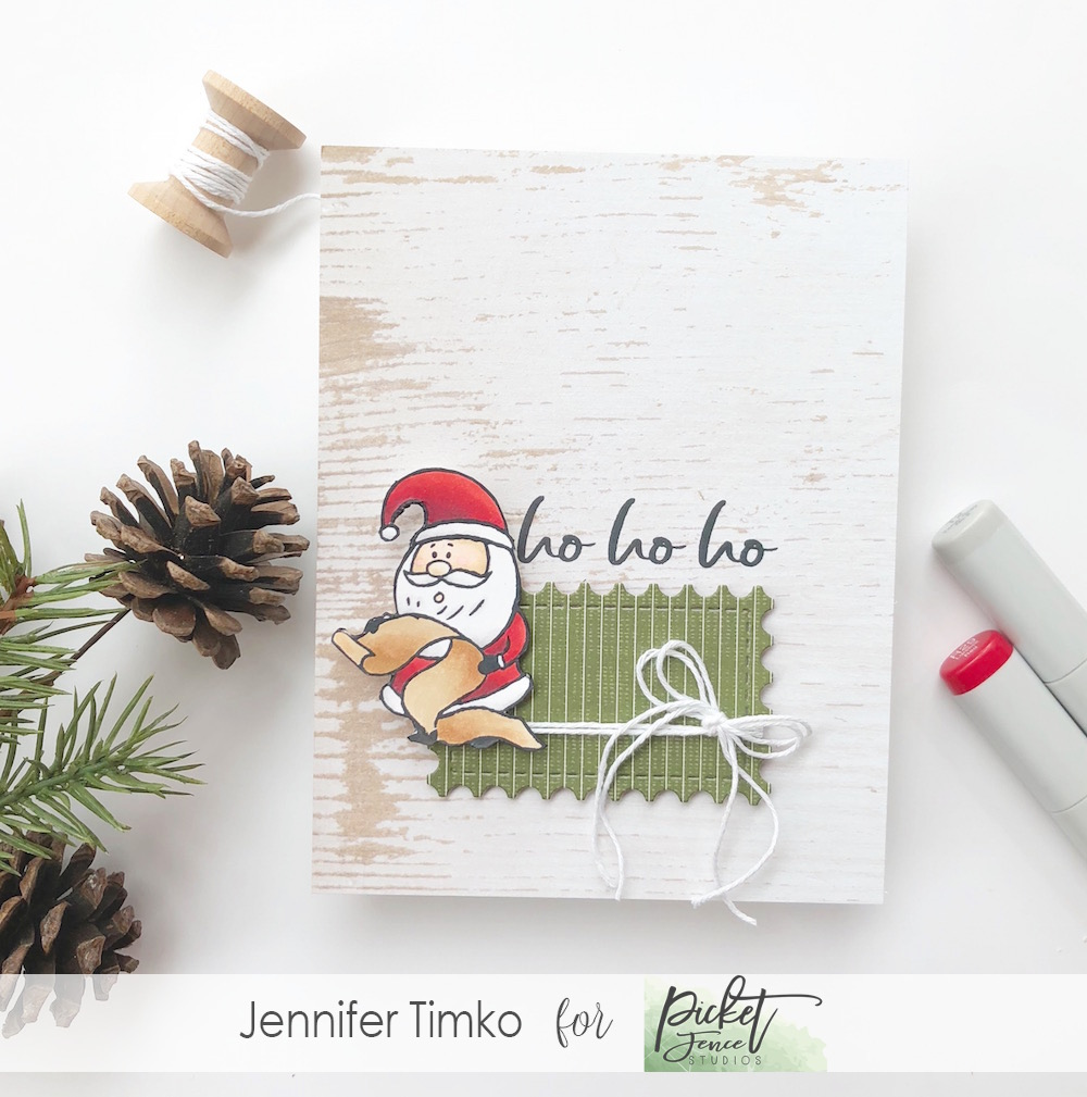 Ho Ho Ho by Jen Timko | Santa's Mishief Stamp Set by Picket Fence Studios, Copic Coloring, Framework Dies by Newton's Nook Designs
