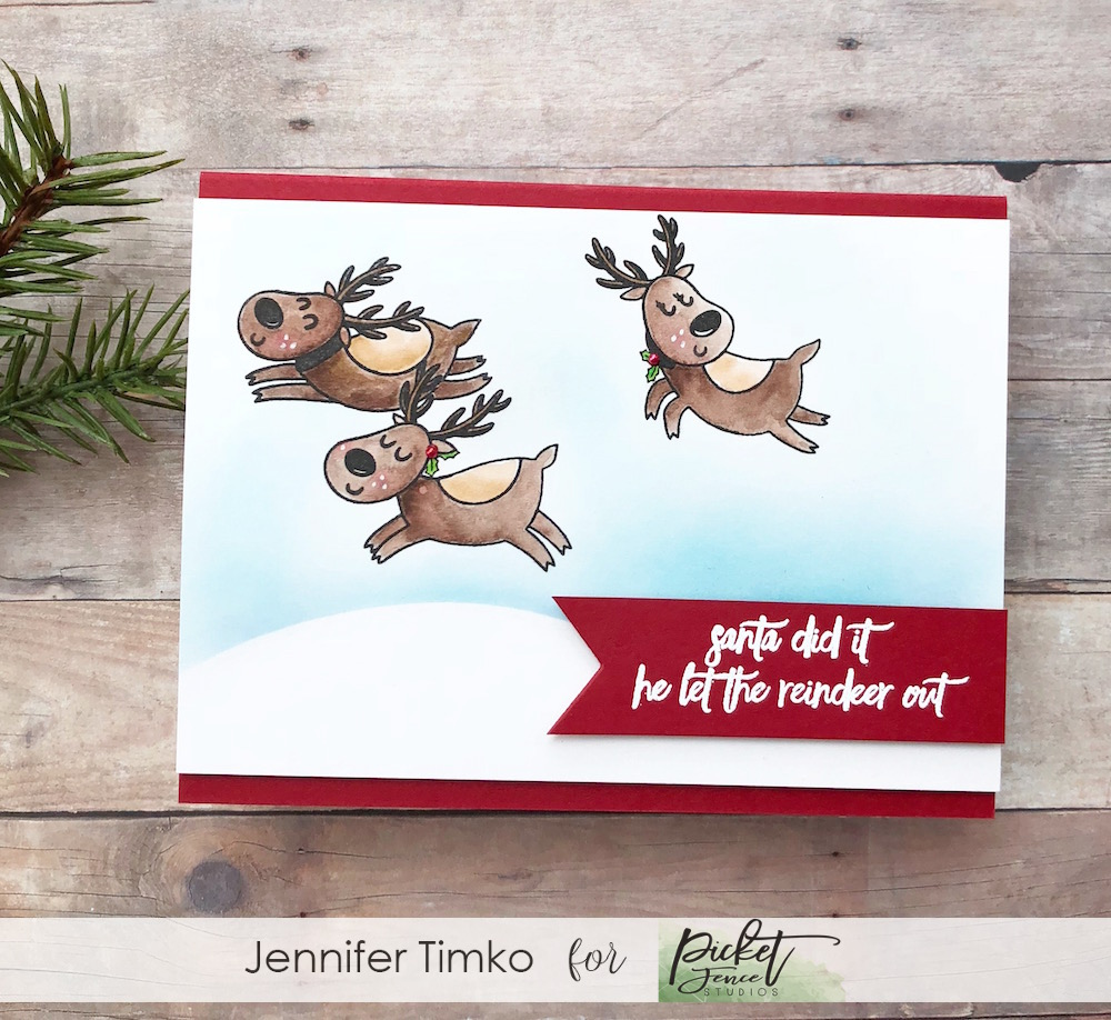 Santa Did It by Jen Timko | Santa's Sleigh Ride Stamp Set by Picket Fence Studios, Zig Clean Color Markers
