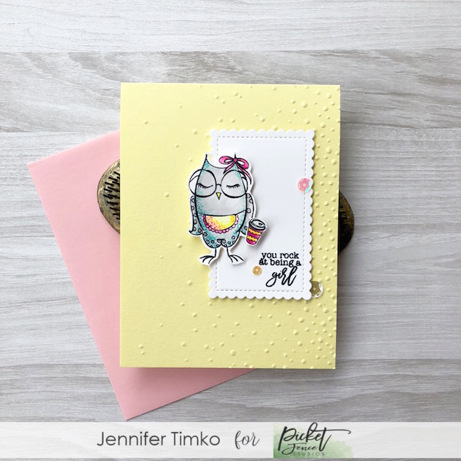 You Rock by Jen Timko | You Are A Hoot Stamp Set by Picket Fence Studios, Louise #girlboss Stamp Set by Picket Fence Studios, Copic Coloring
