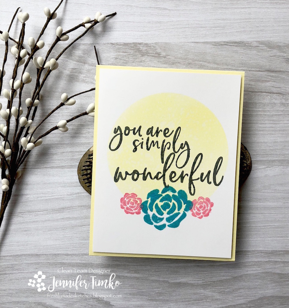 "FMS358 by Jen Timko | Simply Wonderful Stamp Set by Picket Fence Studios. 3-1/3"" Blending Circle Stencil by Picket Fence Studios"