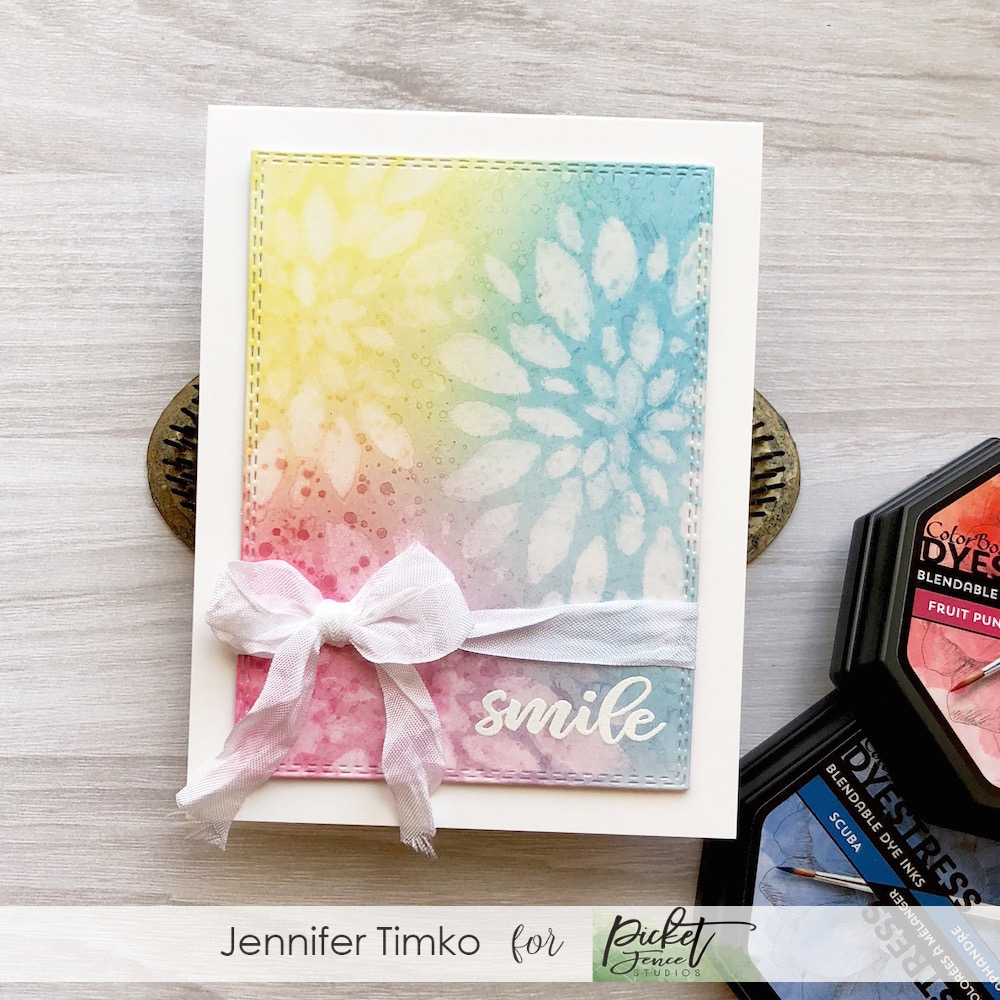 Smile by Jen Timko | Rose Bouquet Stamp Set by Picket Fence Studios, Colorbox Dyestress Inks, Life Changing Blender Brushes by Picket Fence Studios, Flower Burst Trio Die by Gina Marie Designs