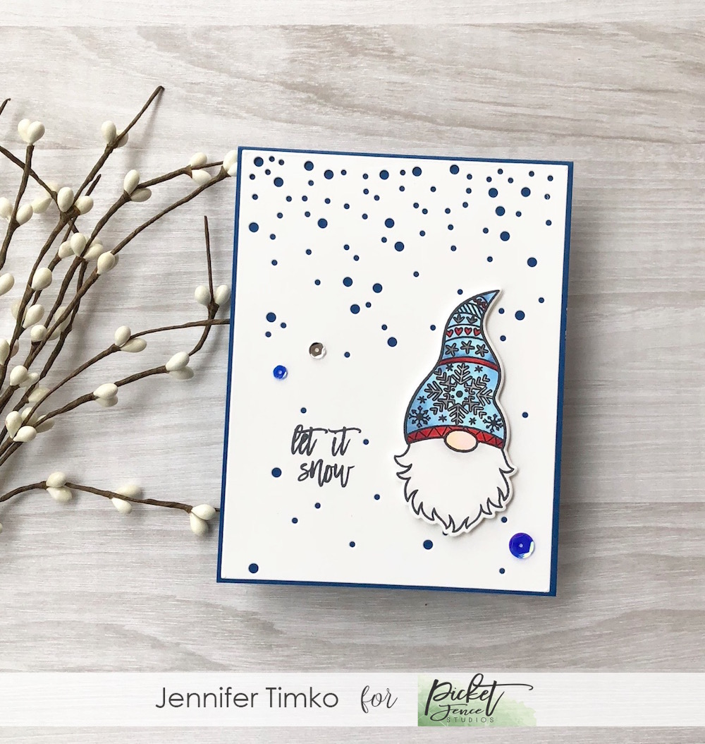 Let It Snow by Jen Timko | A Gnome Winter Stamp Set by Picket Fence Studios, Shark Bite Sequins by Picket Fence Studios, Falling Snow Background Plate by Gina Marie Designs