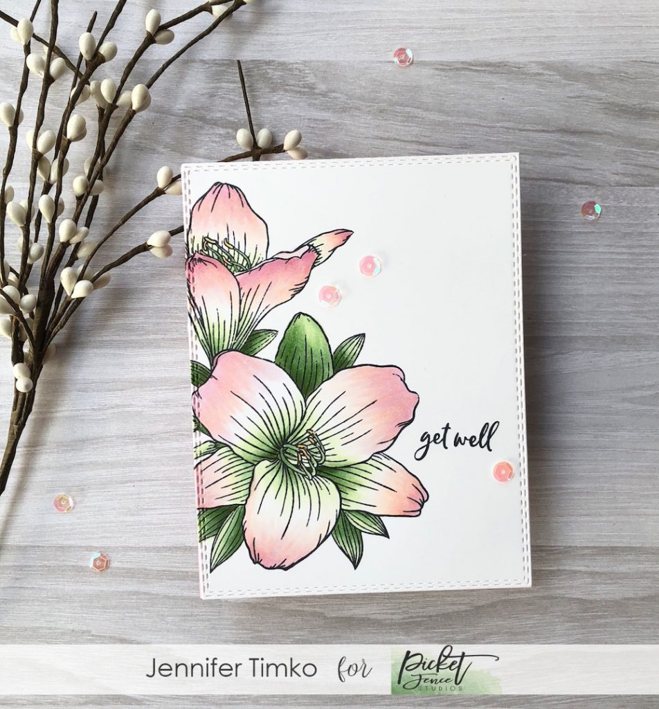Get Well Lilies by Jen Timko | Lily Bouquet Stamp Set by Picket Fence Studios, Ways to Say Get Well Stamp Set by Picket Fence Studios, Copic Coloring, Double Stitched Rectangles Dies by Gina Marie Designs