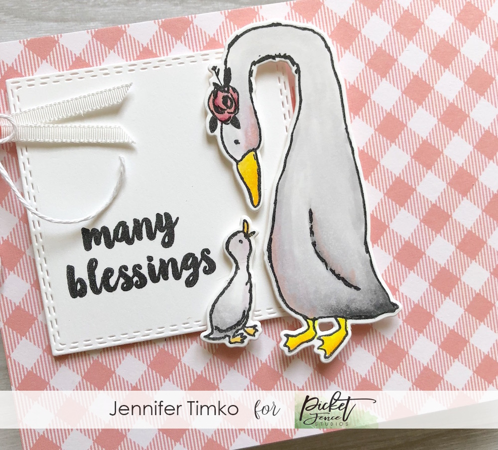 FMS364 by Jen Timko | i love you momma stamp set by Picket Fence Studios, Lawn Fawn Gingham Paper, Copic Coloring