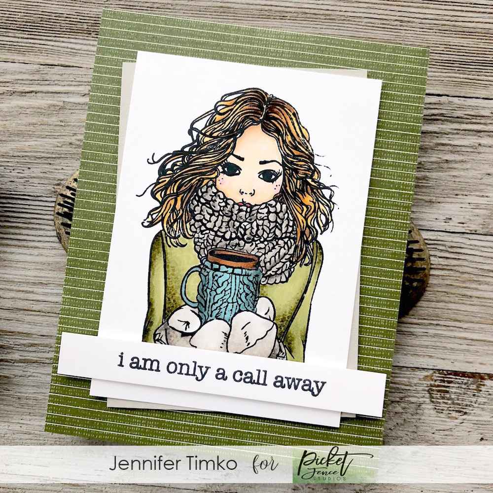 A Call Away by Jen Timko | Jill Girl Stamp Set by Picket Fence Studios, Rustic Floral Stamp Set by Picket Fence Studios, Copic Coloring