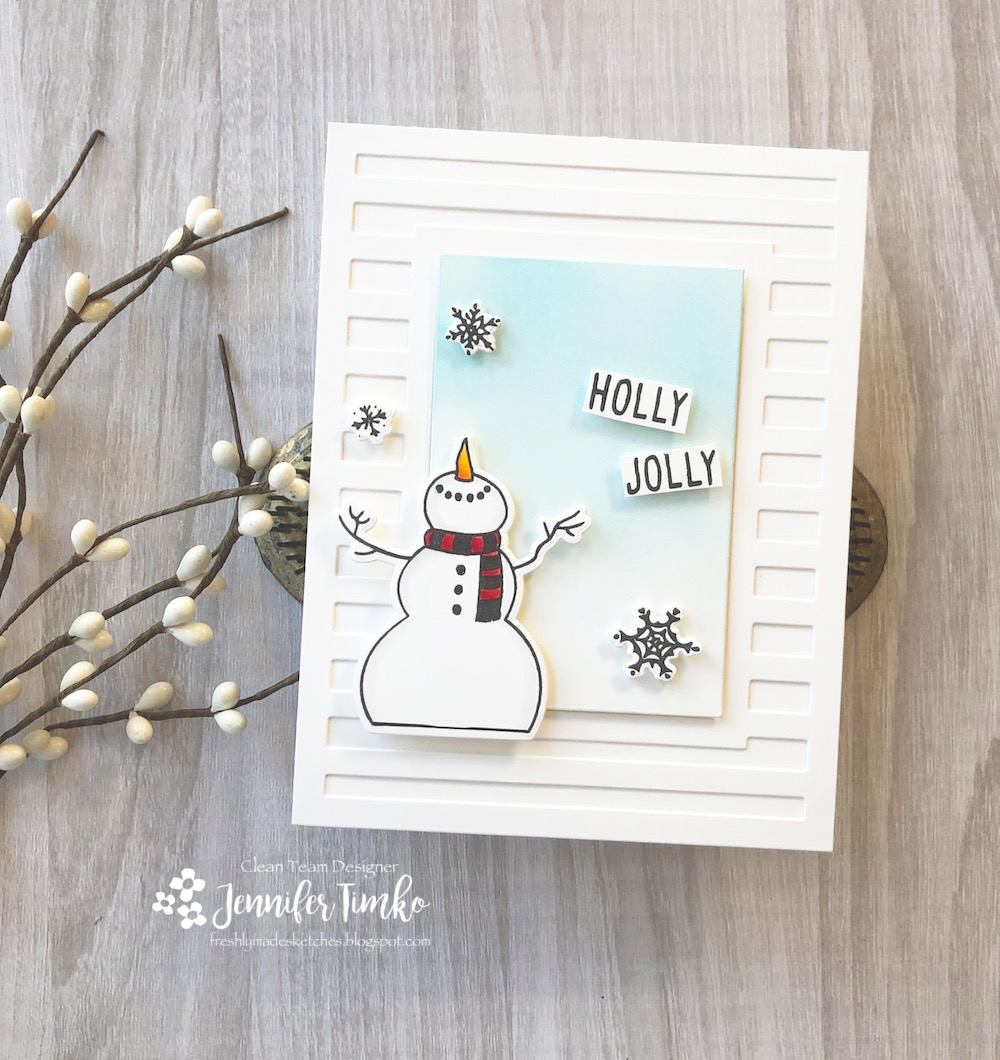 FMS367 by Jen Timko | Let It Snow Stamp Set and Dies by Honey Bee Stamps, Striped Frame Cover Panel by Reverse Confetti, Life Changing Blender Brushes