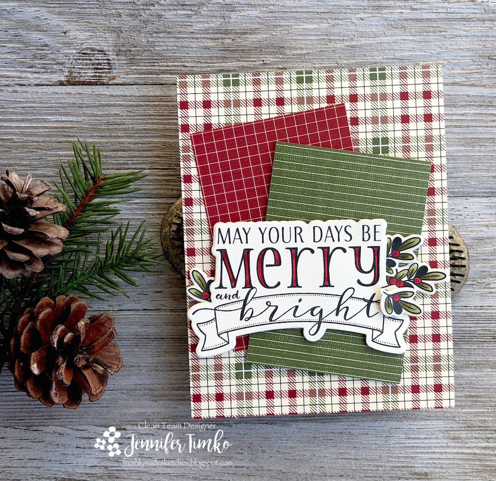 FMS368 by Jen Timko | Be Merry Stamp Set and Dies by WPlus9, Copic Coloring, Festive Farmhouse DSP by Stampin' Up