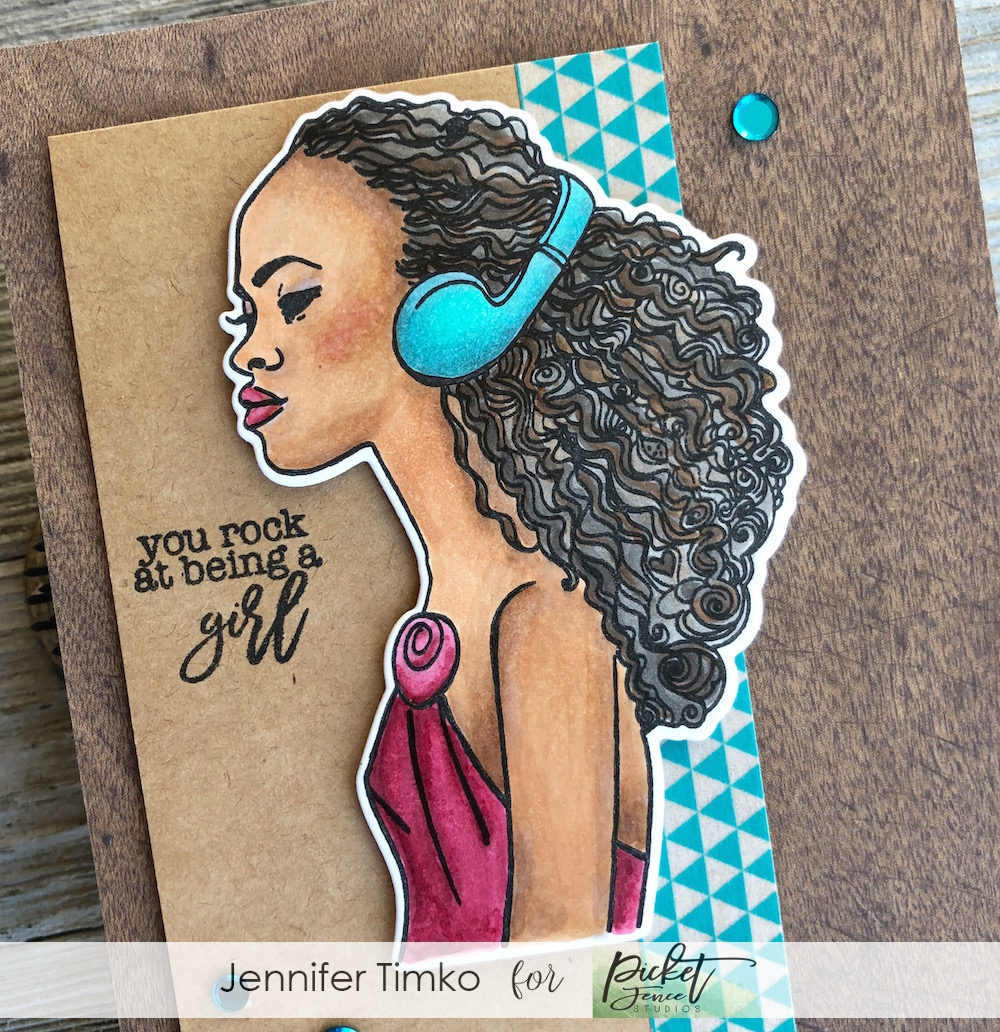 Keisha Rocks by Jen Timko | Kiesha Stamp Set by Picket Fence Studios, #girlboss Louise Stamp Set by Picket Fence Studios, Copic Skin Tones, Copic Coloring
