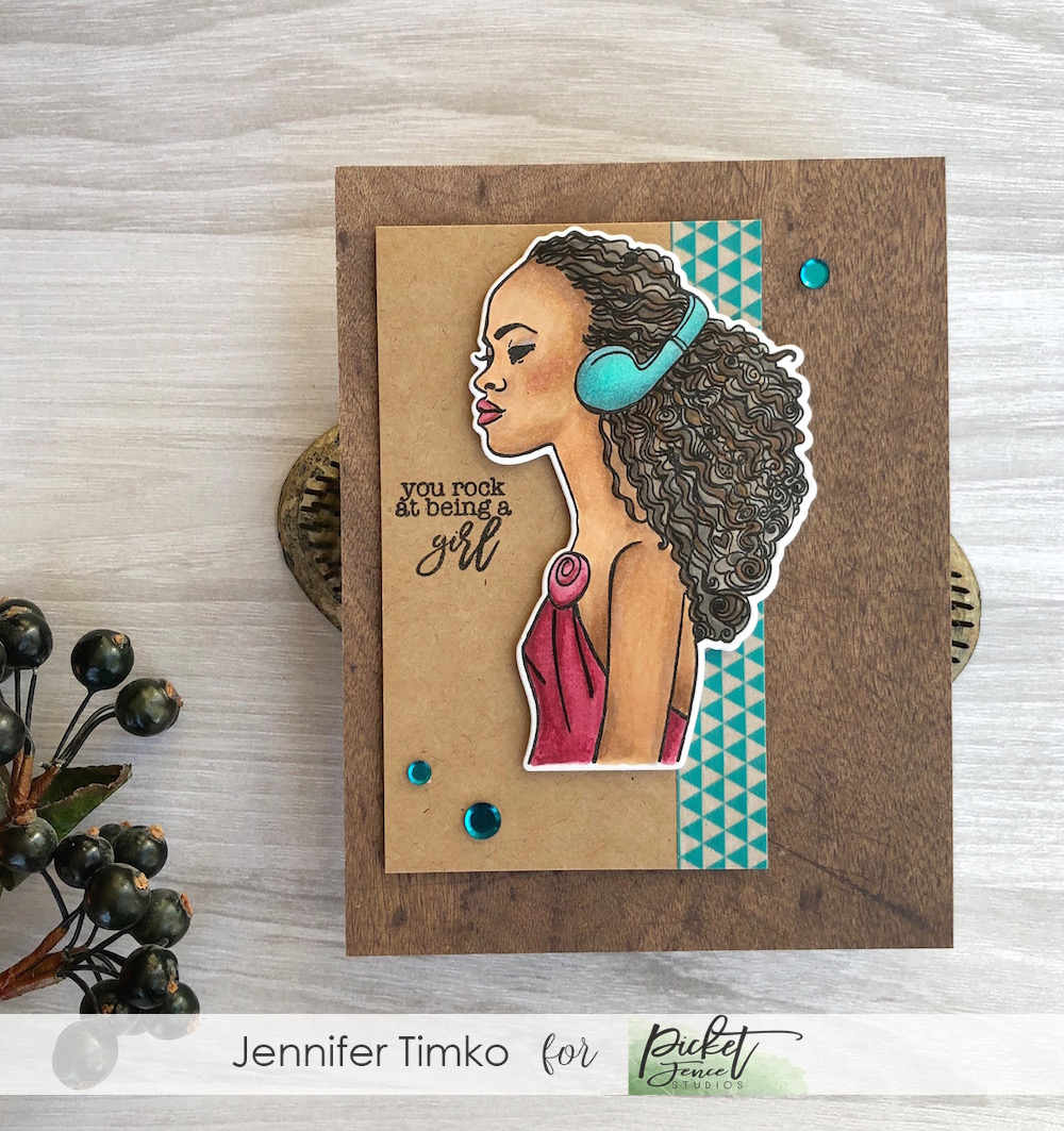 Kiesha Rocks by Jen Timko| Keisha Stamp Set and Dies by Picket Fence Studios, #girlboss Louise Stamp Set by Picket Fence Studios, Copic Skin Tones, Copic Coloring