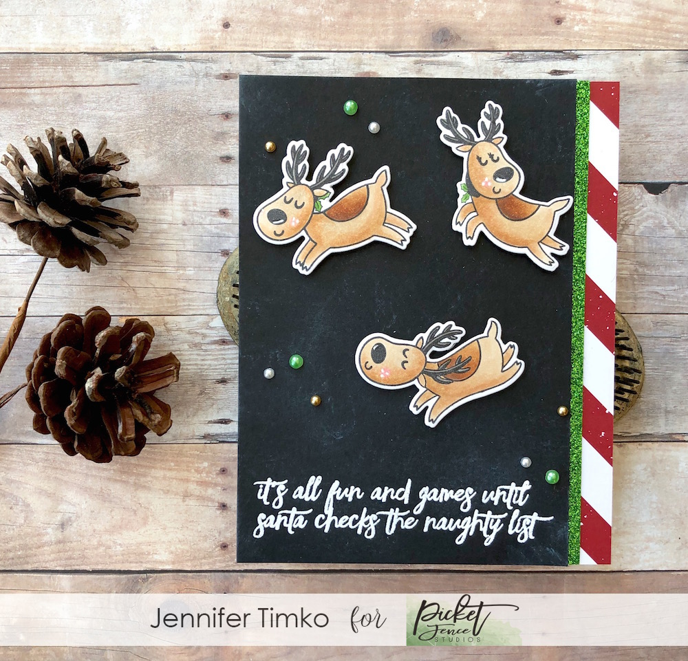 All Fun and Games by Jen Timko | Santa's Sleigh Ride Stamp Set by Picket Fence Studios, Summer Glitter Paper Pack by Concord and 9th, Copic Coloring