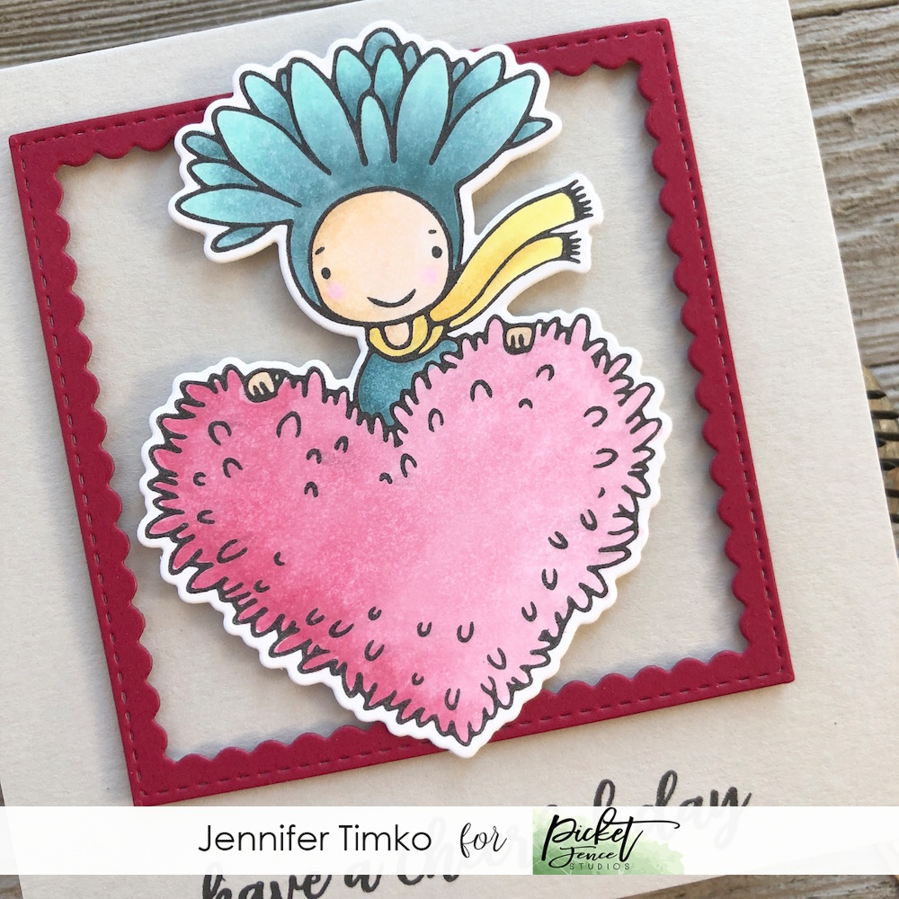 Have a Cheerful Day by Jen Timko | Have a Cheerful Day Stamp Set and Die by Picket Fence Studios, Copic Coloring