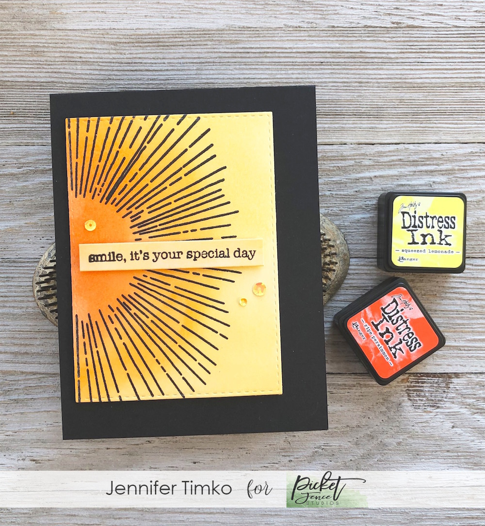 Your Special Day by Jen Timko | Spotlight on You Stamp Set by Picket Fence Studios, Distress Ink, Life Changing Blender Brushes