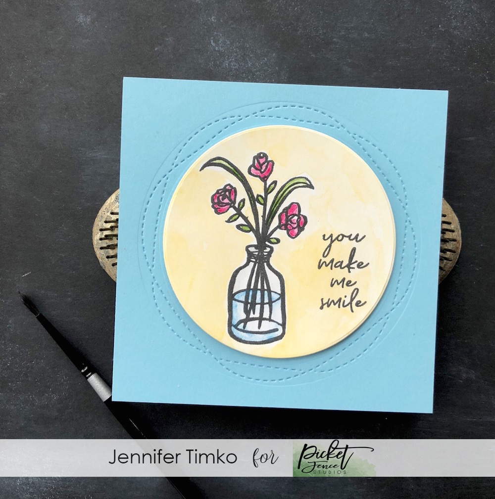 You Make Me Smile by Jen Timko | Rustic Florals by Picket Fence Studios, Daniel Smith Watercolors, Wonky Stitched Circle Dies by Gina Marie Designs