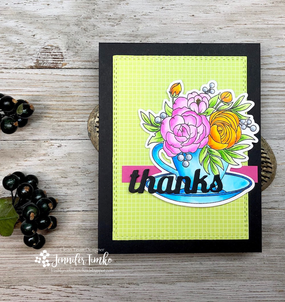 FMS369 by Jen Timko | Cup of Thanks Stamp Set and Dies by Studio Katia, Zig Clean Color Real Brush Markers