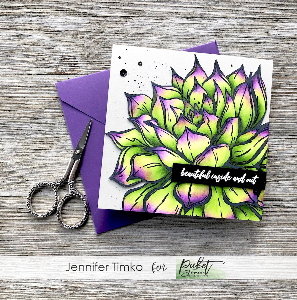 Beautiful by Jen Timko | Aeonium African Succulent Stamp Set by Picket Fence Studios, Rose Bouquet Stamp Set by Picket Fence Studios, Copic Coloring