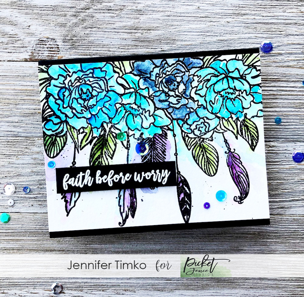 Faith Before Worry by Jen Timko | Wild Heart, Gypsy Soul Stamp Set by Picket Fence Studios, Exhale Worry Stamp Set by Picket Fence Studios, Daniel Smith Watercolors
