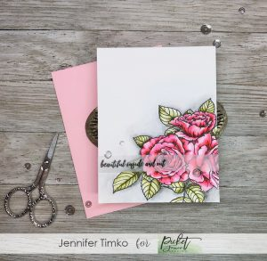 Beautiful Inside and Out by Jen Timko | Rose Bouquet Stamp Set by Picket Fence Studios, Zig Clean Color Markers, Watercolor, Flowers