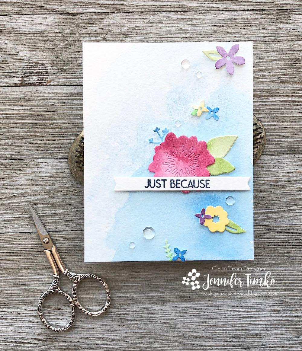 FMS374 by Jen Timko | Monogram J Stamp and Monogram Dies by Concord and 9th, Posie Fill-In Dies by Concord and 9th, Daniel Smith Watercolors