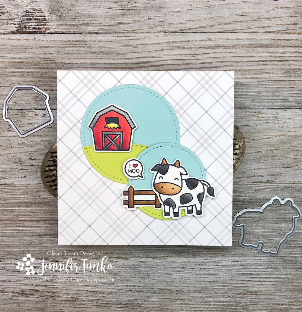 FMS375 by Jen Timko | Hay There Stamp Set and Dies by Lawn Fawn, Land Borders Dies by Newton's Nook Designs