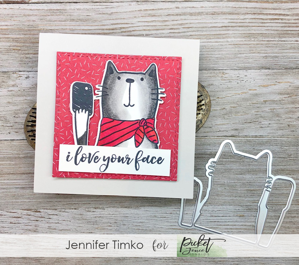 I Love Your Face Light Up by Jen Timko | I Love Your Face Stamp Set and Dies by Picket Fence Studios, Chibitronics Chibi Lights, Light Up Card