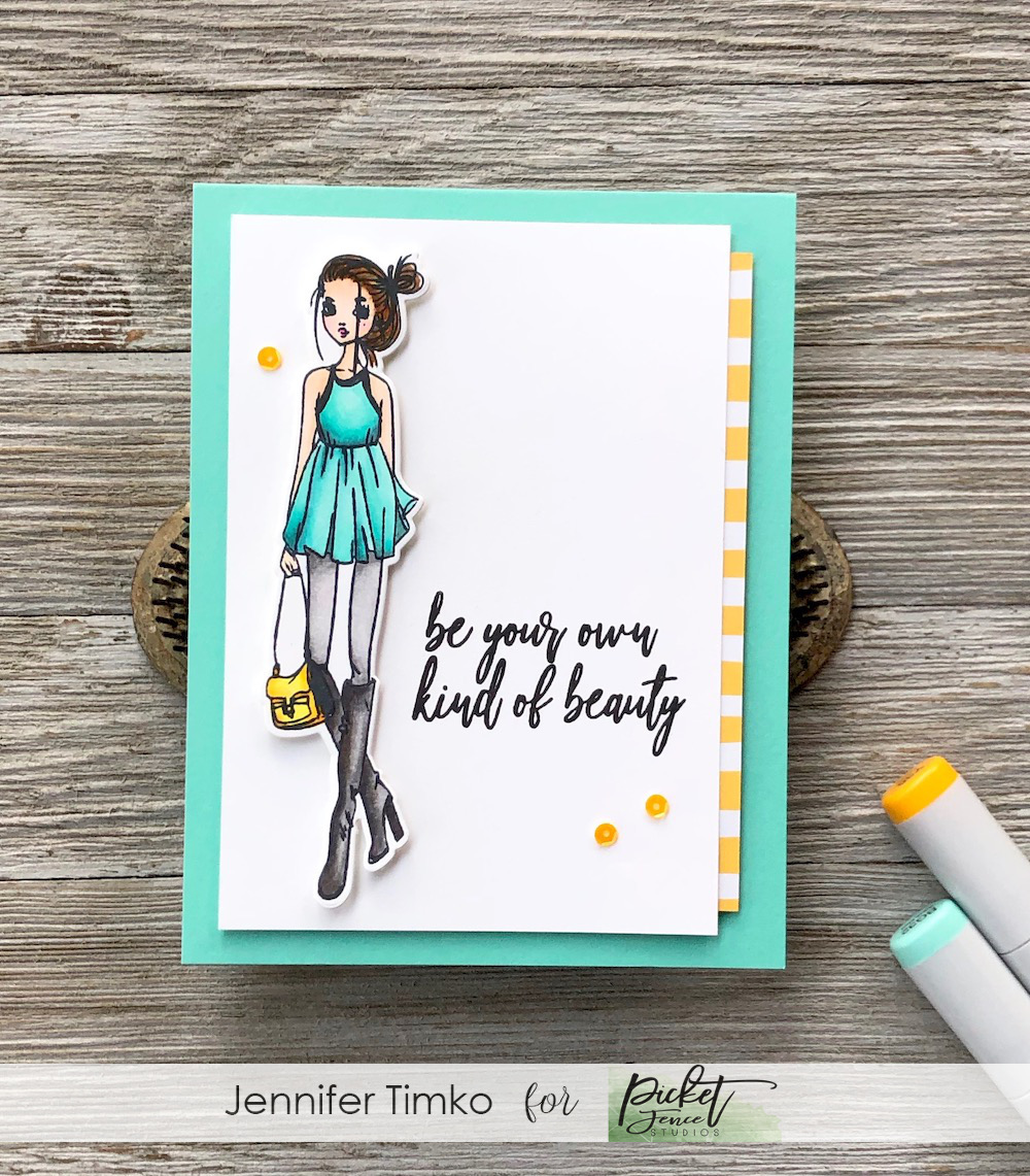Own Kind of Beauty by Jen Timko | Shop Hard Stamp Set and Dies by Picket Fence Studios, Let's Shake Our Tail Feathers Stamp Set by Picket Fence Studios, Copic Coloring
