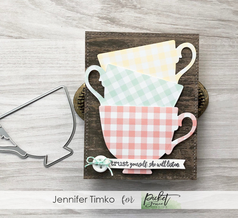 Trust Yourself by Jen Timko | Petite Cup Die by Picket Fence Studios, Exhale Worry Stamp Set by Picket Fence Studios