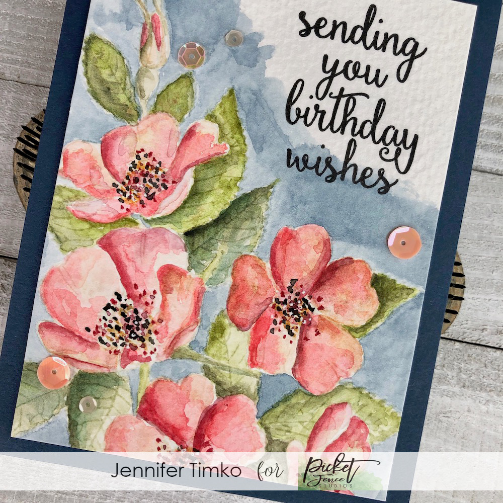 Wild Rose Birthday by Jen Timko | Wild Rose Bouquet Stamp Set by Picket Fence Studios, I Wish We Could Hug Stamp Set by Picket Fence Studios, No Line Watercolor