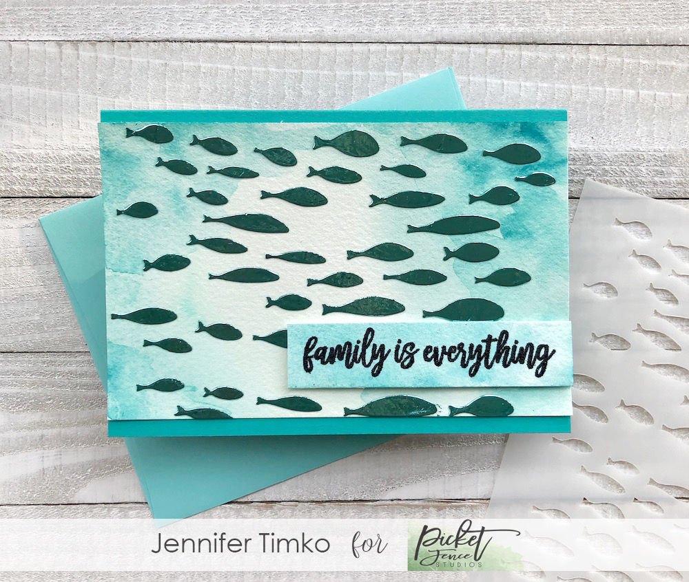 Family Fish by Jen Timko | Oceans of Fish Stencil by Picket Fence Studios, Be a Unicorn of the Sea Stamp Set by Picket Fence Studios, Daniel Smith Watercolor, Deco Foil Transfer Gel